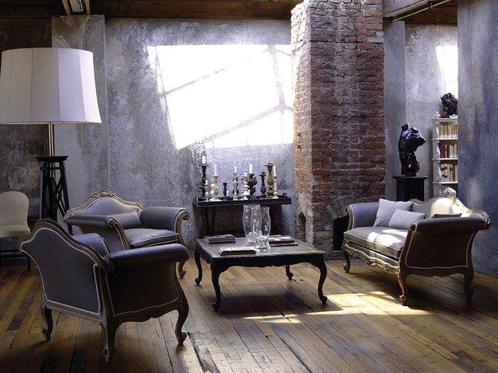 divani classici in ambiente stile industriale urban