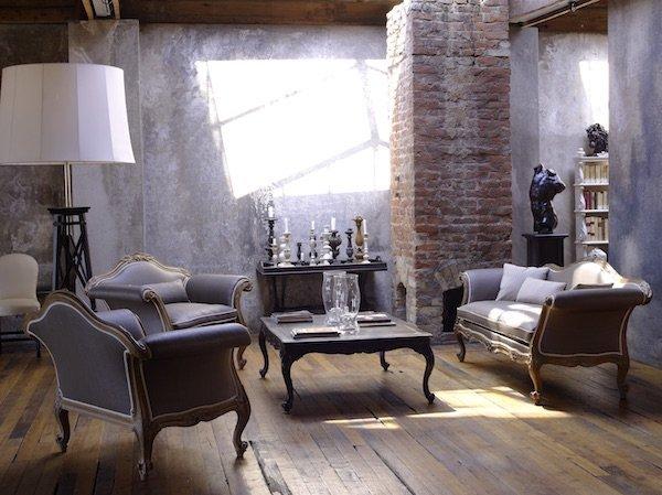arredi classici: divani viola stile industriale
