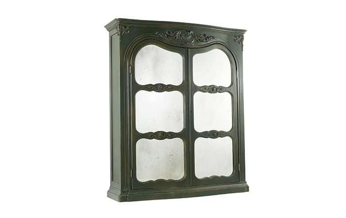 Refined glass and solid wood dark green bookcase