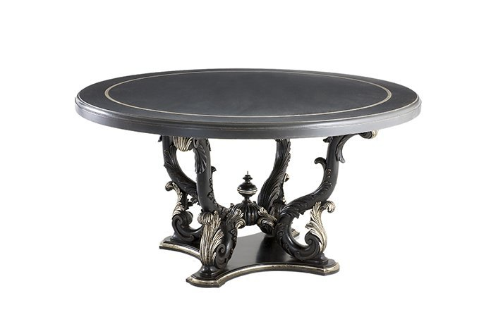 dining table classic black silver: article 1259
