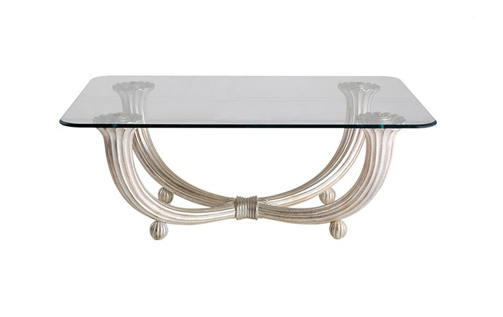 rectangular art deco silver glass wood coffee table classic style