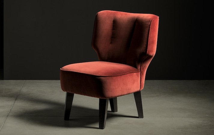 designer red modern armchair fabric: mimosa
