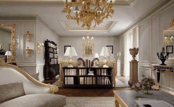 boiserie legno bianca oro soggiorno